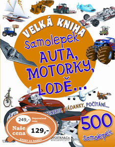 Obrázok Velká kniha samolepek Auta, motorky, lodě,...