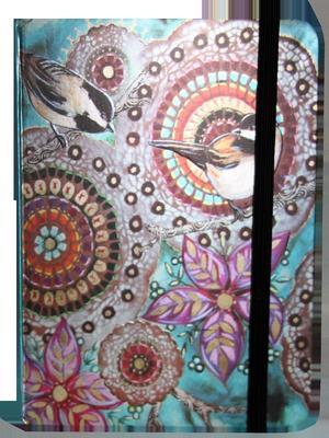 Obrázok Zápisník s gumičkou 130x180 mm barevný s ptáčky a květy