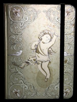 Obrázok Zápisník s gumičkou 130x180 mm zlatý s andělíčkem
