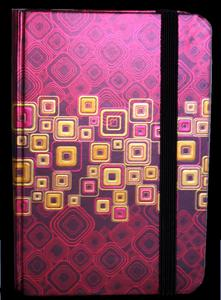 Obrázok Zápisník s gumičkou 95x140 mm červenozlaté čtverce