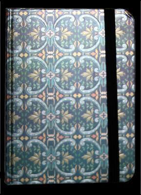 Obrázok Zápisník s gumičkou 95x140 mm modrostříbrný ornament