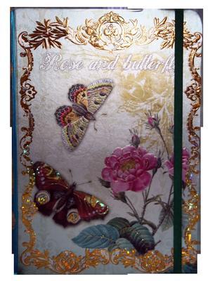 Obrázok Zápisník s gumičkou A5 145x210 mm růže a motýli