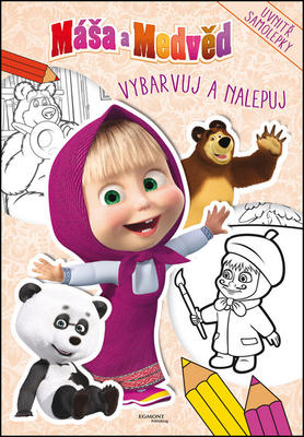 Obrázok Máša a Medvěd Vybarvuj a nalepuj