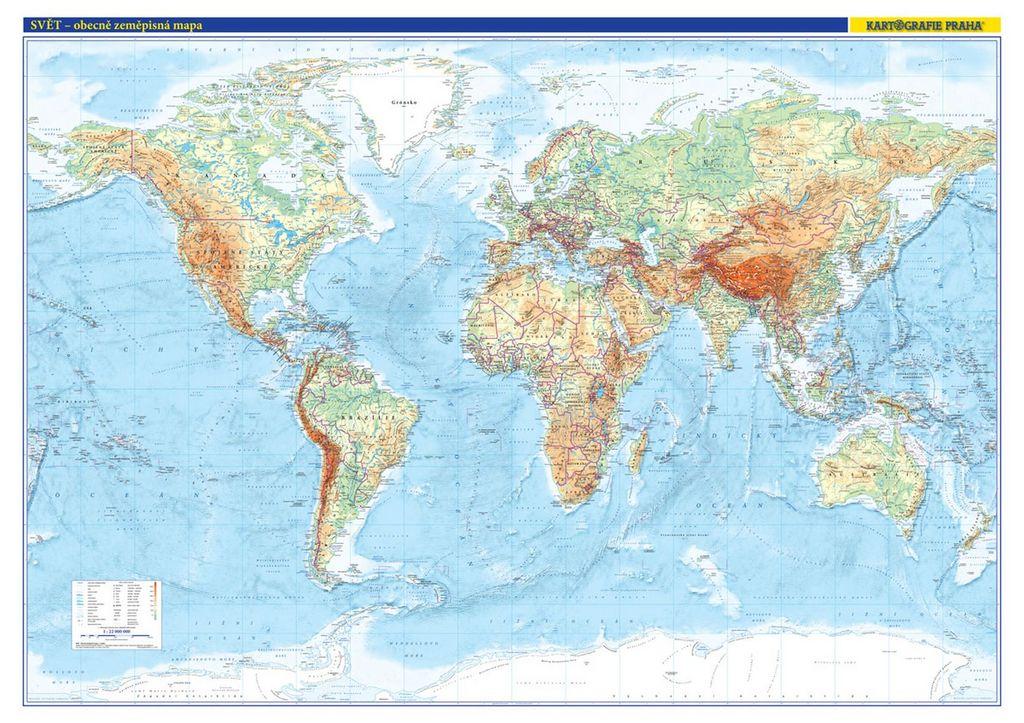 Svět nástěnná obecně zeměpisná mapa