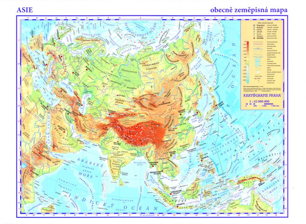 Asie Obecne Zemepisna Mapa Knihcentrum Cz