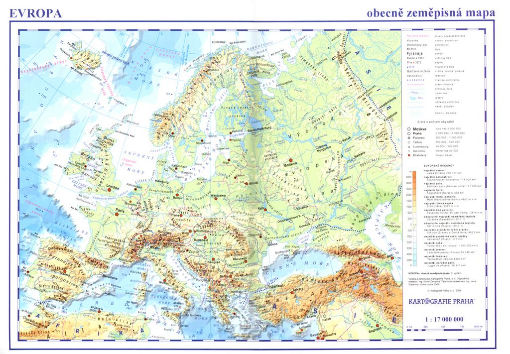 Evropa Obecne Zemepisna A Obrysova Mapa Knihcentrum Cz