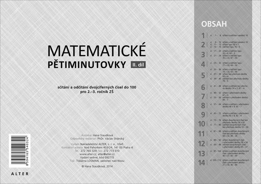 ALTER Matematické pětiminutovky 2. díl - Hana Staudková
