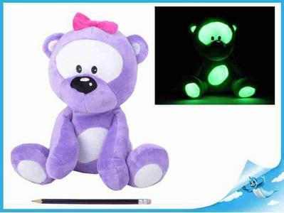 Obrázok Medvídek plyšový 30cm svítící ve tmě fialový 0m+ v sáčku