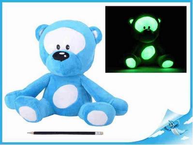 Obrázok Medvídek plyšový 30cm svítící ve tmě modrý 0m+ v sáčku