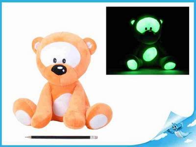 Obrázok Medvídek plyšový 30cm svítící ve tmě oranžový 0m+ v sáčku