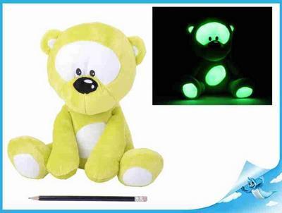 Obrázok Medvídek plyšový 30cm svítící ve tmě zelený 0m+ v sáčku