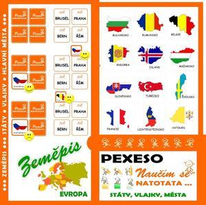 Obrázok Pexeso Natotata Evropa - státy, vlajky, hlavní města