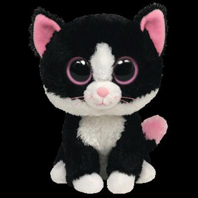 Obrázok plyš očka střední kočka černobílá