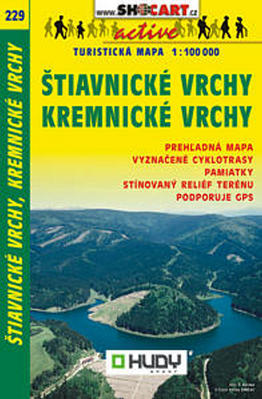 Obrázok Štiavnické vrchy, Kremnické vrchy turistická mapa 1:100 000