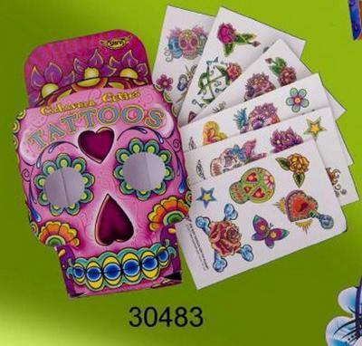 Obrázok Tetování krabička lebka pink