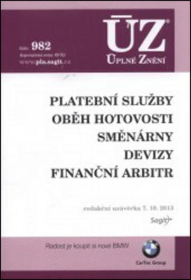 Obrázok ÚZ 982 Platební služby, oběh hotovosti, směnárny, devizy, finanční arbitr