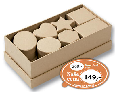 Obrázok Dárkové krabičky různých tvarů, 15 kusů, přírodní barva
