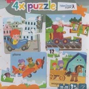Obrázok 4x puzzle Car, train, plane, wagon