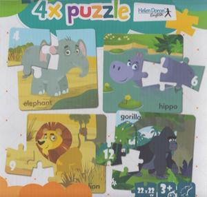 Obrázok 4x puzzle Elephant, hippo, lion, gorilla