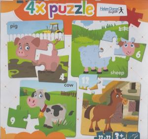 Obrázok 4x puzzle Pig, sheep, cow, horse