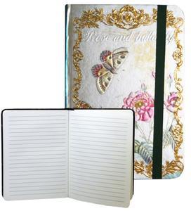 Obrázok Zápisník s gumičkou 178x126 mm růže a motýli F