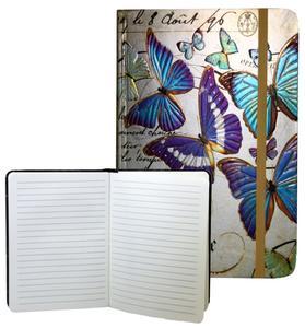 Obrázok Zápisník s gumičkou 178x126 mm zlatý s motýli F