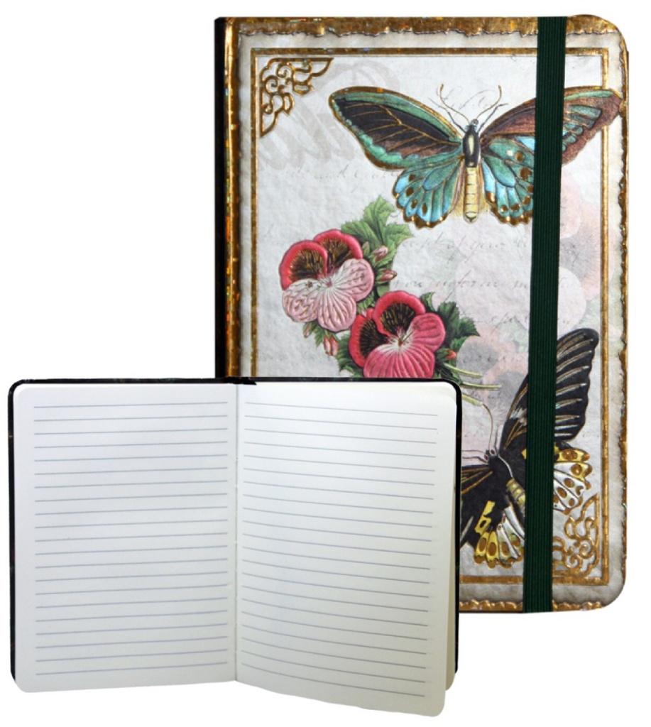 Zápisník s gumičkou 178x126 mm motýli F