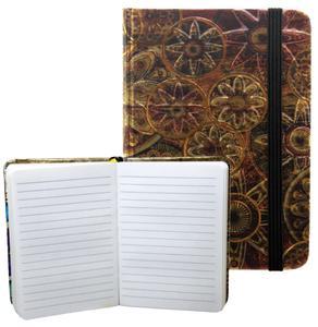 Obrázok Zápisník s gumičkou 95x140 mm zlatobronzový ornament A