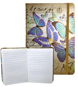 Obrázok Zápisník s gumičkou 95x140 mm zlatý s motýli A