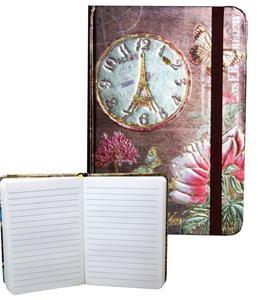 Obrázok Zápisník s gumičkou 95x140 mm zlatý s hodinami A