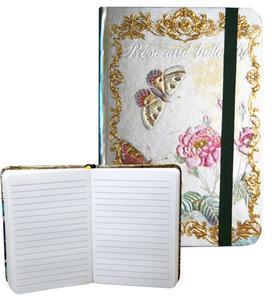 Obrázok Zápisník s gumičkou 95x140 mm růže a motýli A