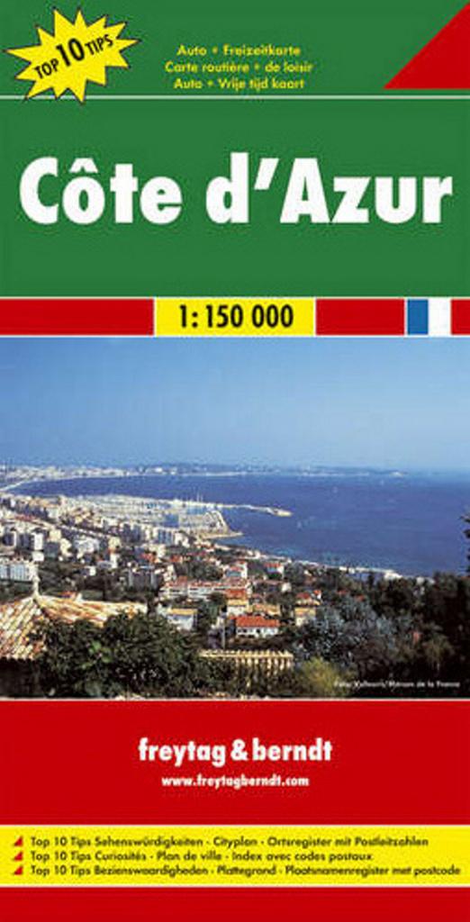 Automapa Côte ďAzur, Azurové pobřeží 1:150 000