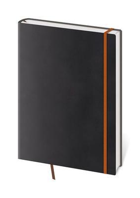 Zápisník Flexies černý s oranžovou gumičkou