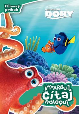 Obrázok Hľadá sa Dory Vyfarbuj, čítaj, nalepuj