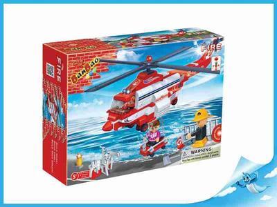 BanBao stavebnice Fire hasičský vrtulník + 3 figurky