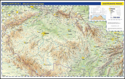 Obrázok Česko nástěnná fyzická mapa