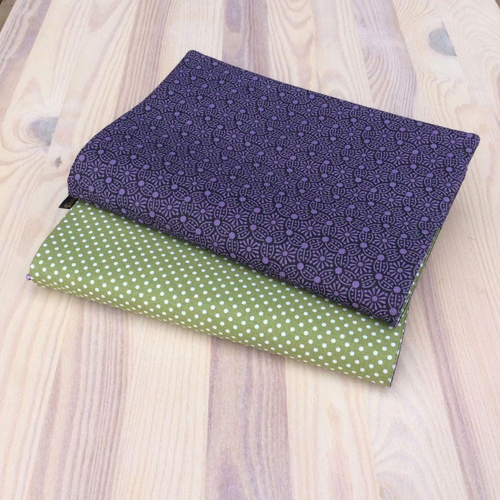 Obal na knihu Puntíky na zelené/fialový vzor