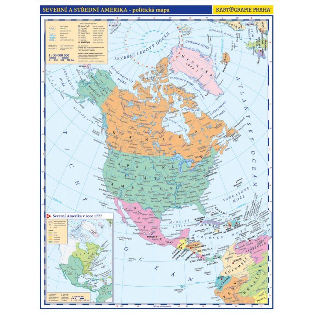 mapa amerike Severní a Střední Amerika příruční politická mapa | KNIHCENTRUM.sk mapa amerike