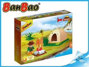 Obrázok BanBao stavebnice Safari malý stan s ohništěm 46ks + 1 figurka ToBees v krabičce