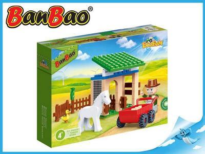 BanBao stavebnice Eco Farm stáj s koníkem 59ks + 1 figurka ToBees v krabičce