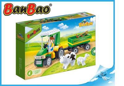 BanBao stavebnice Eco Farm farmářský traktůrek s vlečkou 115ks + 1 figurka ToBee