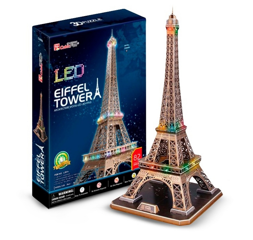 Puzzle 3D Eiffelova věž / led - 82 dílků