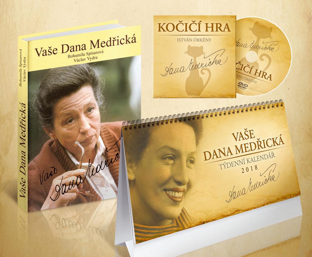 Komplet 3ks Vaše Dana Medřická + DVD + kalendář 2018 - Václav Vydra, Bohumila Spisarová