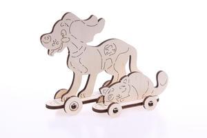 Obrázok 3D dřevěný model Kotě a štěně