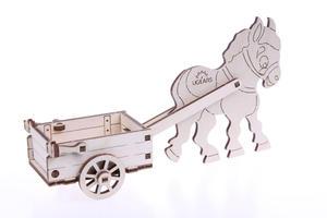 Obrázok 3D dřevěný model Oslík s vozíkem