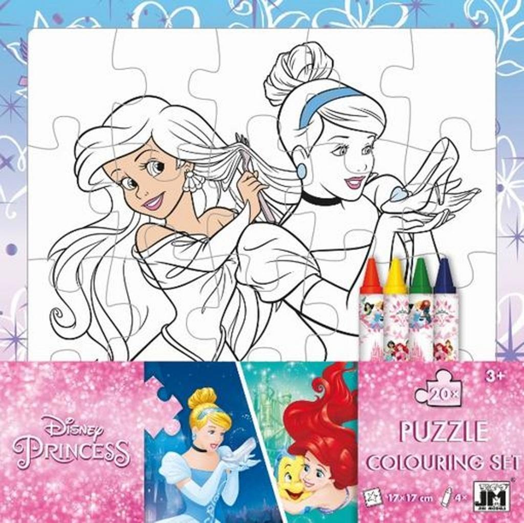 Omalovánkové puzzle s voskovkami Disney Princezny