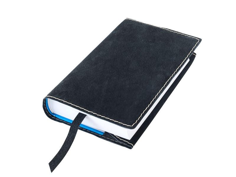 Obal na knihu kožený se záložkou Černý kovový