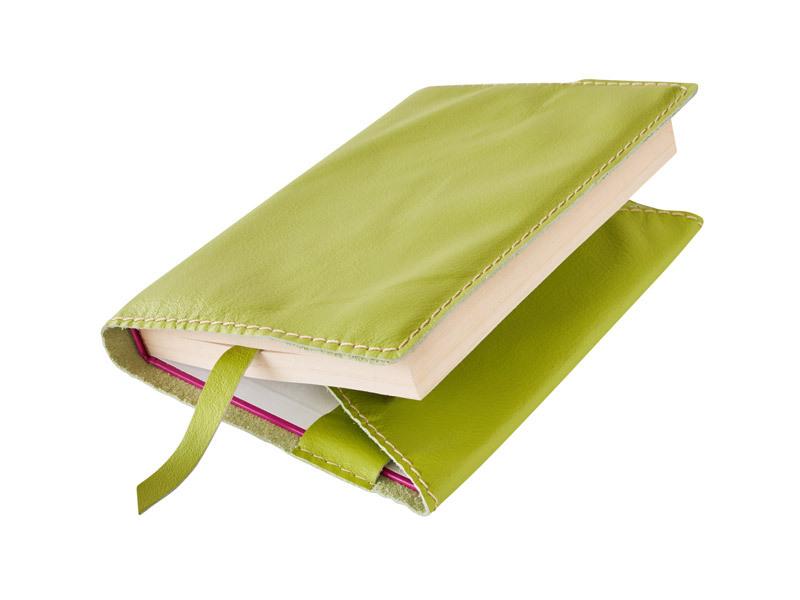 Obal na knihu kožený se záložkou Zelený