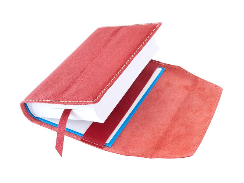 Obal na knihu kožený se záložkou Červená