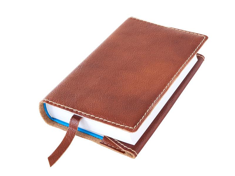 Obal na knihu kožený se záložkou Hnědá měděná